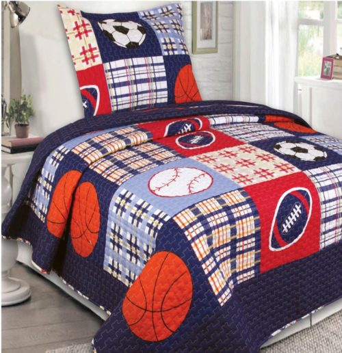 Mk Collection Bedspread set Boys Sport Football Basketball Baseball Dark Blue (Twin) - Red White and Blue Boys Bedding