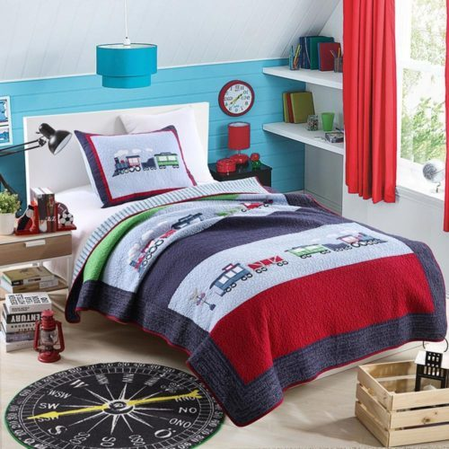 NEWLAKE 100% Cotton Plaid Quilt Comforter Children's Bedspread Set, Train Patchwork Pattern, Twin size - Red White and Blue Boys Bedding
