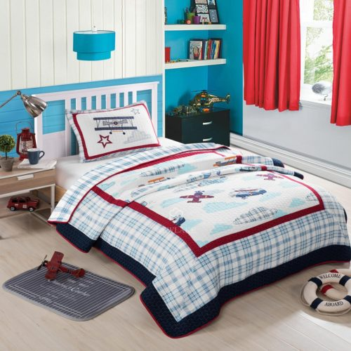 Red White and Blue Boys Bedding - NEWLAKE Airplane Bedding Quilt Set for Kids, 2 Pieces of Comforter Sets, Twin Size