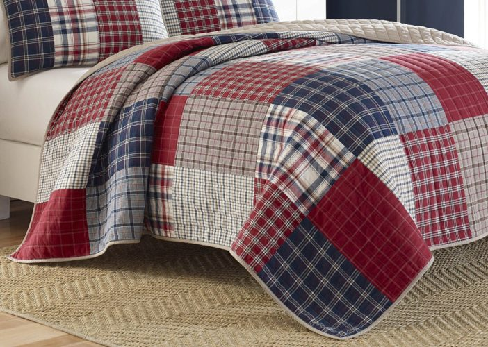 Burgundy Bedspreads - Nautica Ansell Cotton Pieced Quilt, Full-Queen, Red-Blue