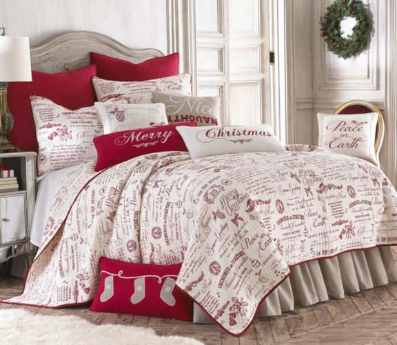 Noelle King Quilt Set, White-Red Script, Cotton Christmas Holiday