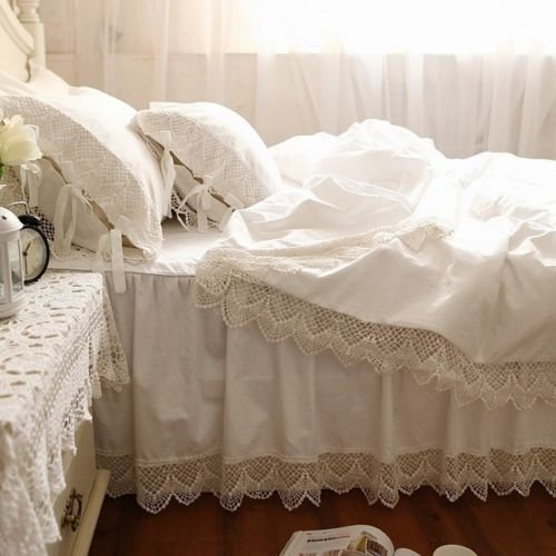 Swanlake Shabby and Victorian Style White Wide Lace Cotton Duvet Cover Bedding Set 1117 (Twin) - victorian bedding collections