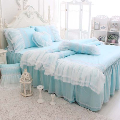 TideTex 4pc Romantic European Rural Style Duvet Cover Sets Lace Flouncing Bed Skirt Girls Fairy Bedding Sets Fresh Blue Bedding Sets 100%Cotton Home Textiles (King, Blue) - blue shabby chic bedding