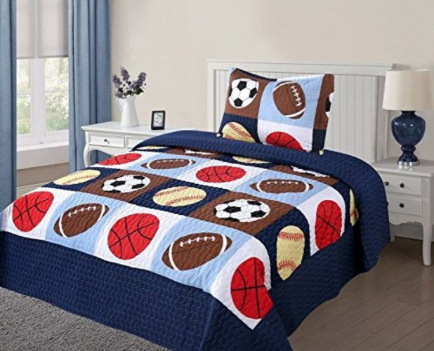 Red White and Blue Boys Bedding - Twin Size 2 Pcs Quilt Bedspread Set Kids Sports Basketball Football Baseball Boys Girls