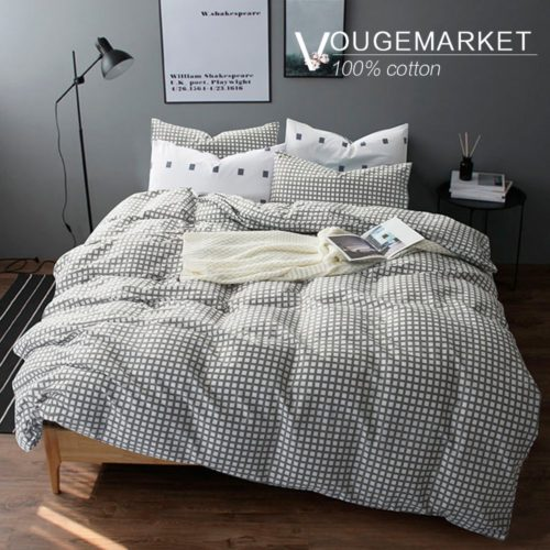 black and white duvet cover sets - Vougemarket Lightweight Cotton 3pc Duvet Cover set(Queen,King),1 Duvet Cover matching 2 Pillow Shams,Gingham Pattern Grey Grid Plaid,No Filling-Full-Queen,Style
