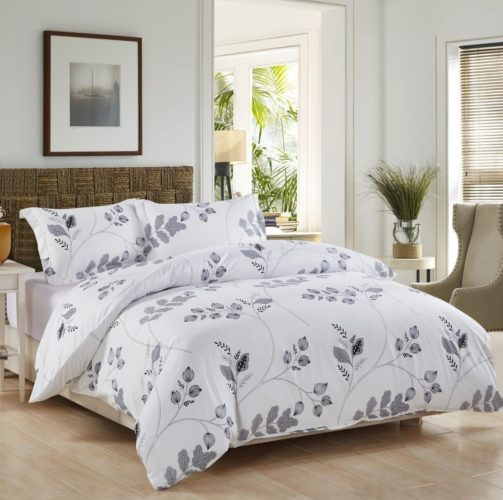 3 Piece Duvet Cover and Pillow Shams Bedding Set, Soft Microfiber Printed Design (King)