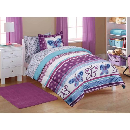 5pc Girl Purple Blue Butterfly Polka Dot Twin Comforter Set (5pc Bed in a bag)