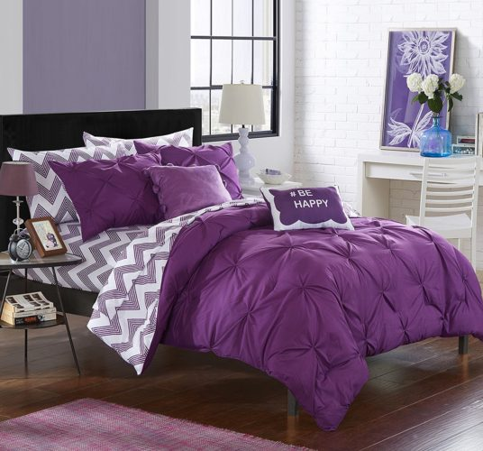 Purple Bed in a Bag - Chic Home 9 Piece Louisville Pinch Pleated and Ruffled Chevron Print Reversible Bed In a Bag Comforter Set Sheets, Full, Purple