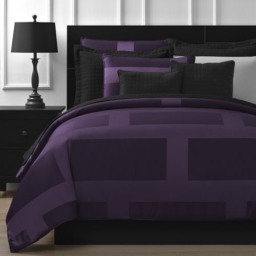 Purple Bedding Sets - Comfy Bedding Frame Jacquard Microfiber Queen 5-piece Comforter Set, Plum