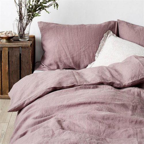Merryfeel 100% Linen Duvet Cover Set - Full-Queen - Mauve