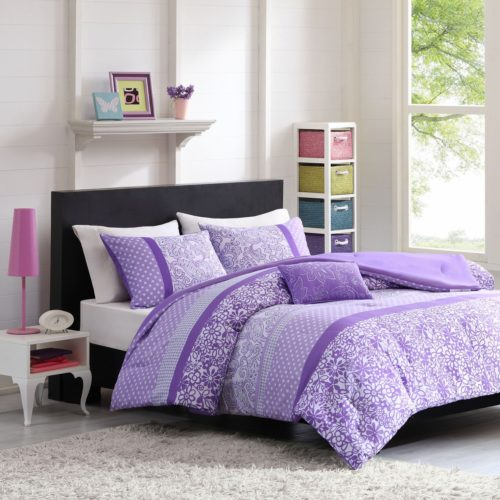 Purple Bedding Ideas - Mizone Riley 4 Piece Comforter Set, Full-Queen, Purple