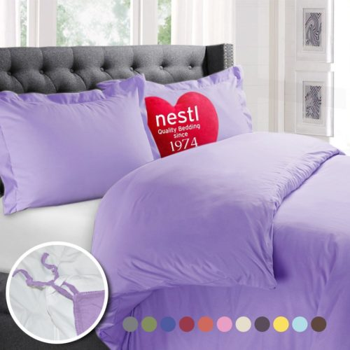 Nestl Bedding Duvet Cover Duvet Insert, Luxury 100% Super Soft Microfiber, Full Size, Color Lavender Light Purple 3 Piece Duvet Cover Set