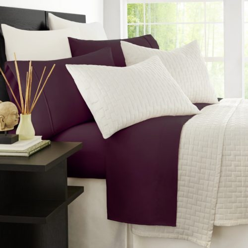 Bamboo Bed Sheets - Zen Bamboo Luxury Bed Sheets - Eco-friendly, Hypoallergenic and Wrinkle Resistant Rayon Derived Bamboo - 4-Piece - Queen - Purple