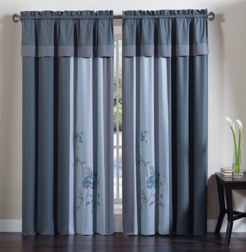 Chezmoi Collection 4-Piece Embroidered Floral Window Curtain Set with Tassels, Gray Blue Curtains