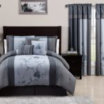 Grey Bedding and Matching Curtains - Chezmoi Collection 7-Piece Embroidered Floral Bed in a Bag Comforter Set Queen, Grey Blue Bedding