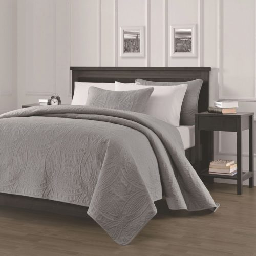 Chezmoi Collection Austin 3-piece Oversized Bedspread Coverlet Set (Queen, Grey Bedding with matching curtains)