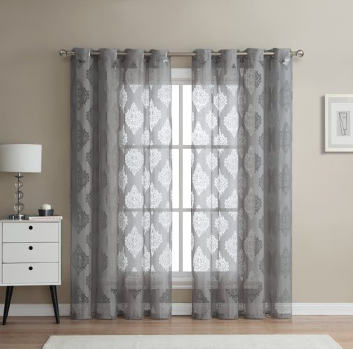 HLC.ME Adel Damask Burnout Window Sheer Voile Curtain Grommet Panels - Set of 2 - 84 inch Long (Grey Curtains)