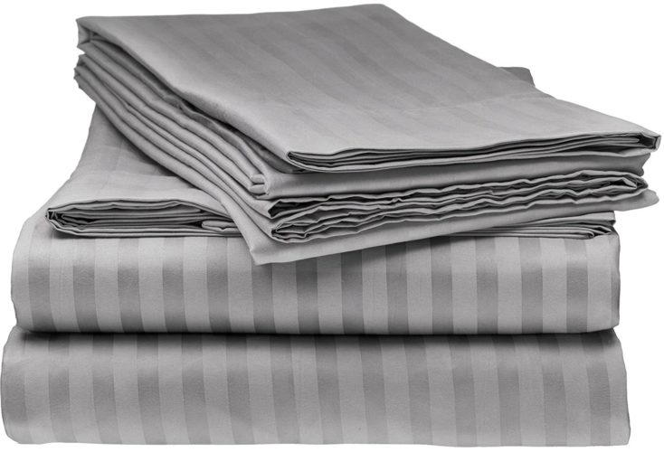 ITALIAN Prestige Collection 4PC FULL Striped Sheet Set, GREY curtains