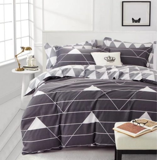 Minimal Style Geometric Shapes Duvet Quilt Cover Scandinavian Midcentury Triangle Stripes Chevron Pattern (King, Grey Bedding)