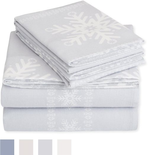 Pinzon Flannel Sheet Set – Twin, Snowflake Grey Bedding