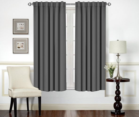 Utopia Bedding - Blackout Room Darkening and Thermal Insulating Window Curtains Grey, 52x63
