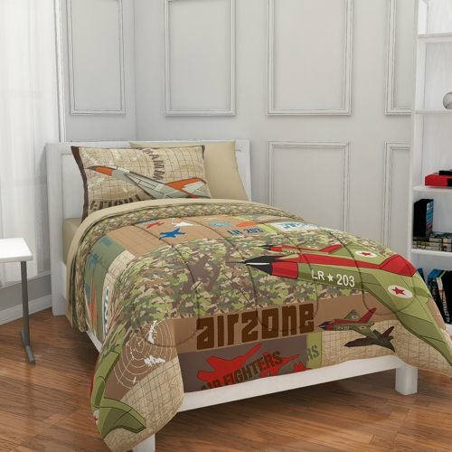 Military Camouflage Bedding Sets - Airplane, Fighter Jet, Military, Camouflage, Boys Full Comforter Set (7 Piece Bed In A Bag)