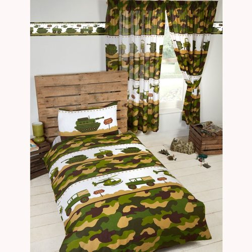 Army Camouflage Bedding - Army Camp 4 in 1 Junior - Toddler Bedding Bundle Set (Duvet, Pillow and Covers) Camouflage, Military, Army