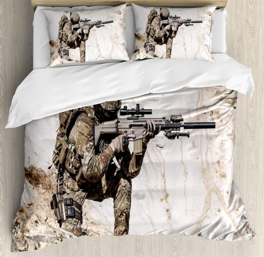 Army Camouflage Bedding - Army Duvet Cover Set by Ambesonne, United States Ranger on the Mountain Targeting with Gun Camouflage War Theme Picture, Queen - Full, Beige Green