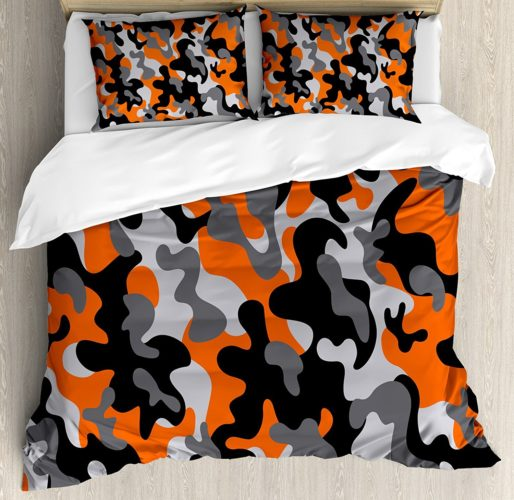 Military Camo Bedding Sets - Camo Duvet Cover Set by Ambesonne, Vibrant Artistic Camouflage Lattice Like Military Service Combat Theme Modern, Queen - Full, Orange Grey Black