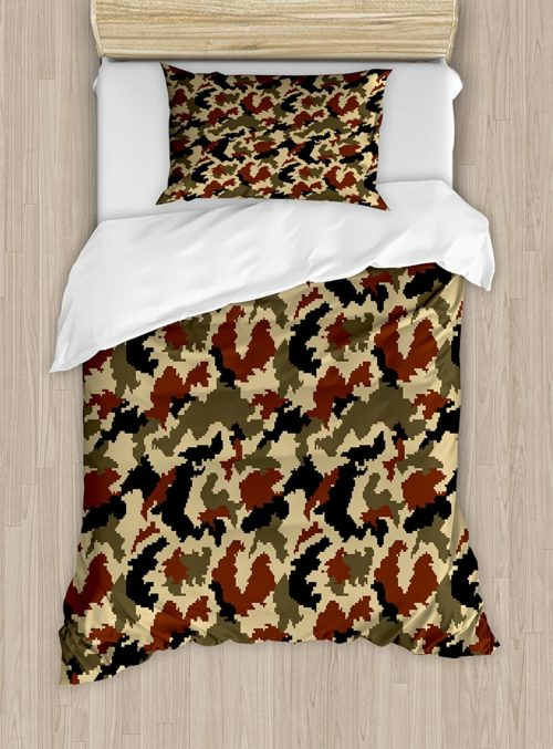 Military Camo Bedding Sets - Camouflage Duvet Cover Set Twin Size by Ambesonne, Pixel Art Style Military Blending in Environment Pattern Abstract Fashion, Brown Black Sepia
