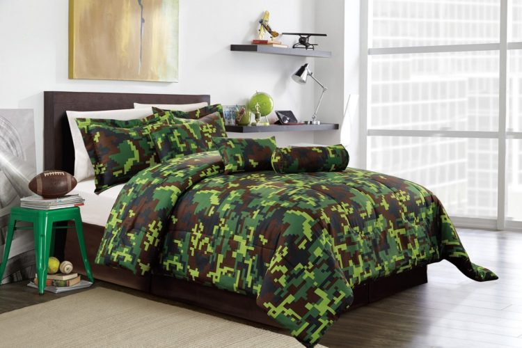 Military Camouflage Bedding Sets - Hunter Green Brown Black Camouflage Camo Pixel Comforter Set Bed In A Bag Full Size Bedding
