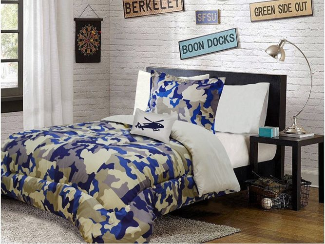 MILITARY ARMY CAMOUFLAGE TEENS BOYS COMFORTER SET 3 PCS TWIN SIZE
