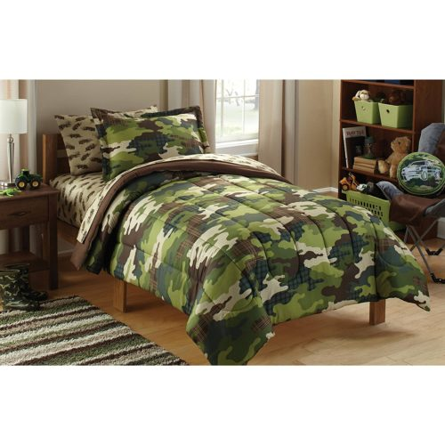 Mainstays Kids Camoflauge Coordinated Bed in a Bag Includes Comforter, Pillow sham(s), Flat Sheet, Fitted Sheet, Pillow case(s), TWIN