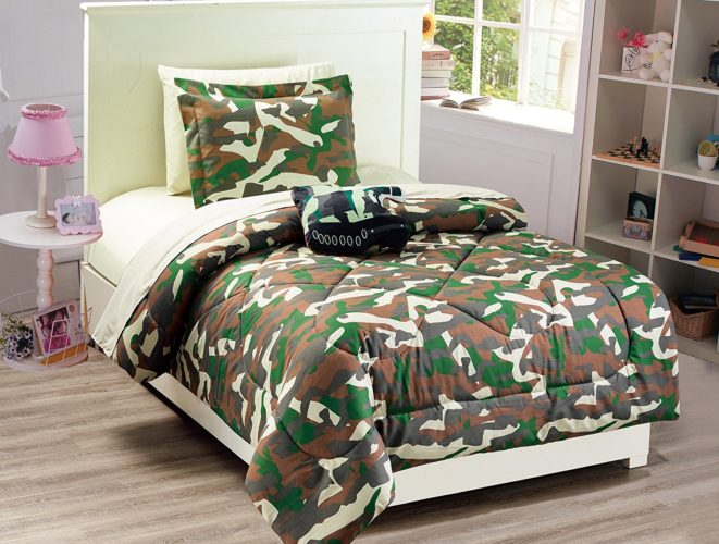 Mk Collection 6 PC Kids - Teens Twin Size Tank Army Camouflage Military Green Brown Beige Light Brown Comforter And Sheet Set With Furry Buddy Included New