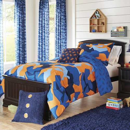 Super Soft and Cute Better Homes and Gardens Kids Camo Navy Bedding Comforter Set, Blue-Orange,Twin-Twin XL