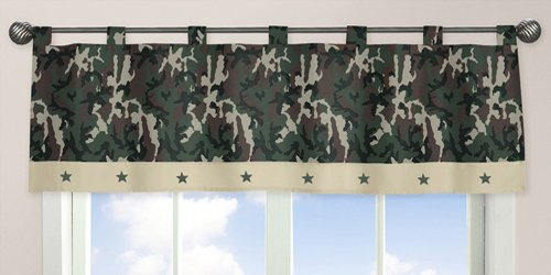 Sweet Jojo Designs Window Valance, Green Camo Army Military Camouflage