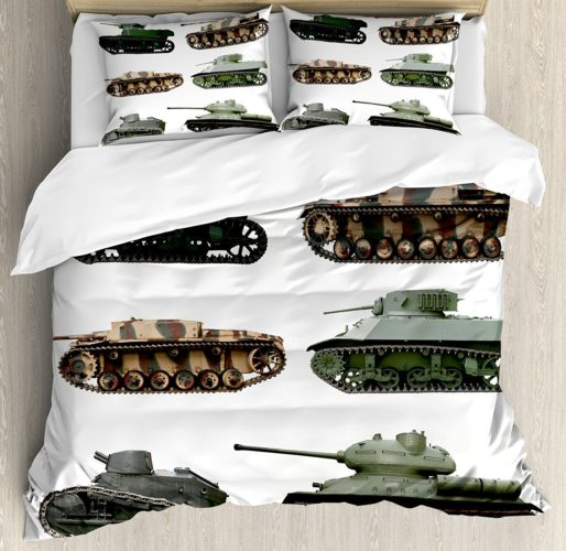 War Home Decor Duvet Cover Set, Second World War Armoured Tanks Camouflage Military Power Artillery Weapon, Queen - Full, Green White