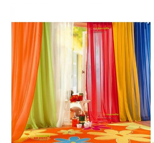 6 Piece Rainbow Sheer Window Panel Curtain Set Blow Out Pprice Special!!!! Lime, Orange, Red, White, Bright Yellow, Navy