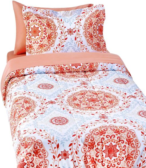 best college dorm bedding - AmazonBasics 5-Piece Bed-In-A-Bag - Twin-Twin Extra-Long, Coral Medallion