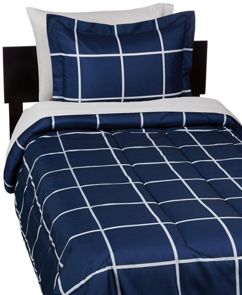 AmazonBasics 5-Piece Bed-In-A-Bag - Twin-Twin Extra-Long, Navy Simple Plaid