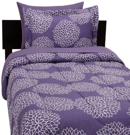 Dorm Bedding Sets - AmazonBasics 5-Piece Bed-In-A-Bag - Twin-Twin Extra Long, Purple Floral