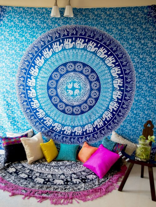 best college dorm bedding - Hippie Elephant Mandala Tapestry Wall Hanging, Blue Bohemian Art , College Dorm Room Accessories Boho Bed Cover