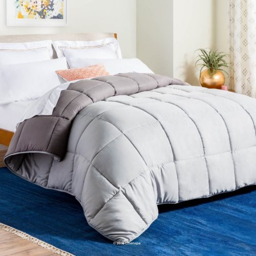 best college dorm bedding - LINENSPA All-Season Reversible Down Alternative Quilted Comforter - Corner Duvet Tabs - Hypoallergenic - Plush Microfiber Fill - Box Stitched - Machine Washable - Stone - Charcoal