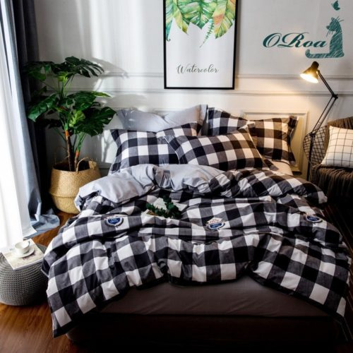 Dorm Bedding Sets - ORoa 3 Piece Duvet Cover and Pillow Shams Bedding Set Twin Cotton 100 for Kids Boys, Print Plaid Pattern White Black