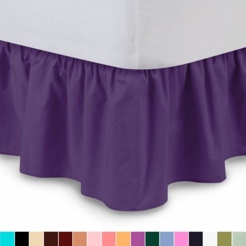 Dorm Bed Skirt - Ruffled Bedskirt (Twin XL, Grape) 18 Inch Bed Skirt with Platform, Wrinkle and Fade Resistant - by Harmony Lane (Available in all bed sizes and 16 colors)