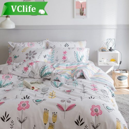 VClife Floral Leaves Duvet Cover Sets Cotton Bedding Sets for Adults Women Girls Hotel Quality Bedding Duvet Cover with 2 Pillow Cases