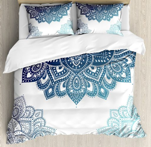 Ambesonne Henna Duvet Cover Set Queen Size, South Asian Mandala Design with Vibrant Color Ornamental Ethnic Illustration, Decorative 3 Piece Bedding Set with 2 Pillow Shams, Dark Blue Pale Blue