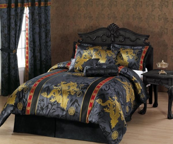 Oriental Comforter Set - Chezmoi Collection 7-Piece Palace Dragon Jacquard Comforter Set, King, Black-Gold-Red