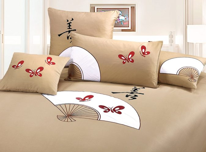 Oriental Comforters Sets Bed in a Bag - King silk tan 3 piece Duvet Cover Set, coverlet comforter 106x92 2 Pillows 36x26