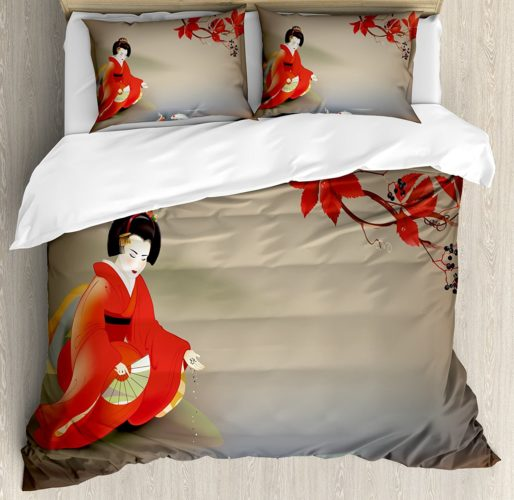 Lunarable Koi Fish Duvet Cover Set Queen Size, Geisha Feeding Sacred Beast Autumn Time Asian Culture Eastern Vibes Oriental, Decorative 3 Piece Bedding Set with 2 Pillow Shams, Sepia Multicolor